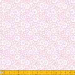 Tecido Tricoline Estampado Floral Desenhado Fundo Rosa Bebe 1177v081