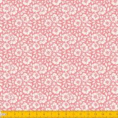 Tecido Tricoline Estampado Floral Desenhado Fundo Rosa Seco 1177v130