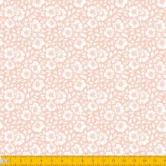 Tecido Tricoline Estampado Floral Desenhado Fundo Rose 1177v053