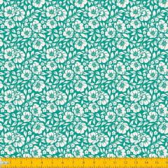 Tecido Tricoline Estampado Floral Desenhado Fundo Verde 1177v129