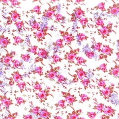Tecido Tricoline Estampado Floral Pequeno Rosa Fundo Branco 180979v2