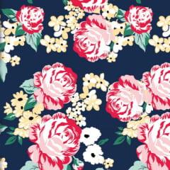 Tecido Tricoline Estampado Floral Pintado Fundo Azul Marinho 2930