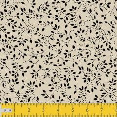 Tecido Tricoline Estampado Floral Ramificado Bege 1047v057