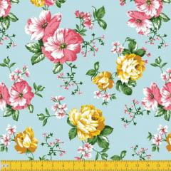 Tecido Tricoline Estampado Floral Rosa E amarelo Fundo Azul 8046v01