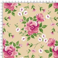 Tecido Tricoline Estampado Floral Rosa e Botões Fundo Bege 6449v04