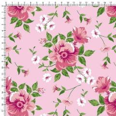 Tecido Tricoline Estampado Floral Rosa e Botões Fundo Rosa Claro 6449v05