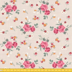 Tecido Tricoline Estampado Floral Rosa Fundo Bege Riscado 8017v1