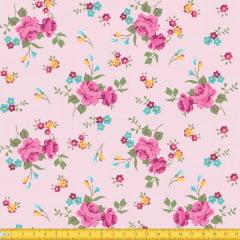 Tecido Tricoline Estampado Floral Rosa Fundo Rosa Riscado 8017v2