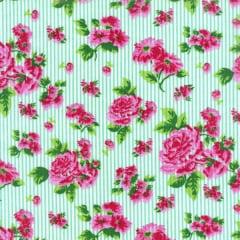 Tecido Tricoline Estampado Floral Rosa Listrado 180975v1