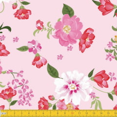 Tecido Tricoline Estampado Floral Colorido Fundo Rosa 8045v02