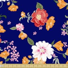 Tecido Tricoline Estampado Floral Colorido Fundo Marinho 8045v01