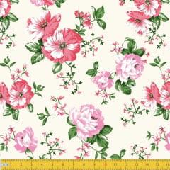 Tecido Tricoline Estampado Floral Vermelho e Rosa Fundo Amarelo Claro 8046v02
