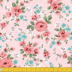 Tecido Tricoline Estampado Floral Vermelho Fundo Rosa Seco 8049v02