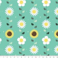 Tecido Tricoline Estampado Flores Delicadas Verde 6177v01