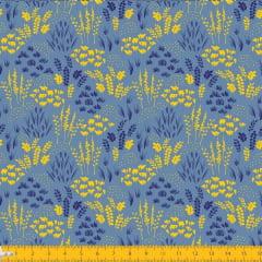 Tecido Tricoline Estampado Folhagem Azul e Amarelo 2013v06