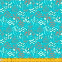 Tecido Tricoline Estampado Folhagem Azul e Laranja 2013v01