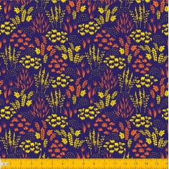 Tecido Tricoline Estampado Folhagem Marinho e Amarelo Laranja 2013v011