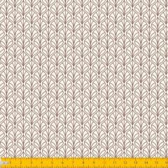 Tecido Tricoline Estampado Folhas Arabesco Fundo Bege 1232v057