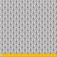 Tecido Tricoline Estampado Folhas Arabesco Fundo Branco 1232v103