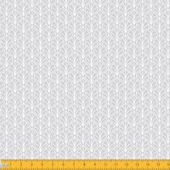 Tecido Tricoline Estampado Folhas Arabesco Fundo Cinza 1232v091