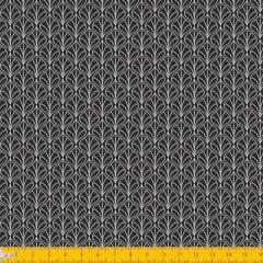 Tecido Tricoline Estampado Folhas Arabesco Fundo Preto 1232v99