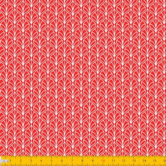 Tecido Tricoline Estampado Folhas Arabesco Vermelho 1232v106