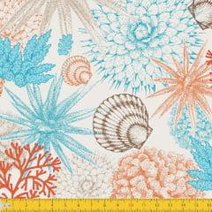 Tecido Tricoline Estampado Corais Fundo do Mar Fundo Bege 7038v01