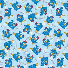 Tecido Tricoline Estampado Galinha Pintadinha Azul 25427