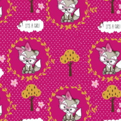 Tecido Tricoline Estampado Gata Poa Fundo Pink 3028