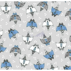 Tecido Tricoline Estampado Gato de Chapéu Cinza 180672v01