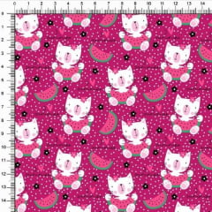 Tecido Tricoline Estampado Gato Summer Pink 5369v06