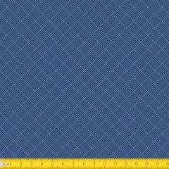 Tecido Tricoline Estampado Geométrico Trançado Azul 1186v04
