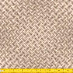 Tecido Tricoline Estampado Geométrico Trançado Bege 1186v057