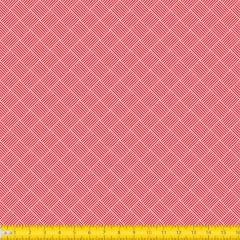 Tecido Tricoline Estampado Geométrico Trançado Vermelho 1186v03