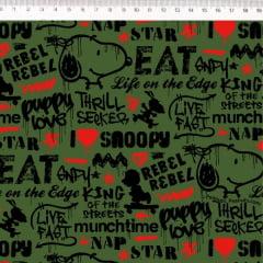 Tecido Tricoline Estampado Snoopy Grafiti - Fernando Maluhy - Fundo Verde SN017C02