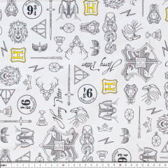 Tecido Tricoline Estampado Harry Potter Símbolos 2594