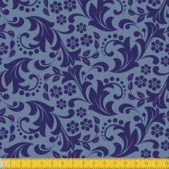 Tecido Tricoline Estampado Jardim Secreto Azul Must Have1260v02