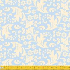Tecido Tricoline Estampado Jardim Secreto Azul Bebê 1260v10