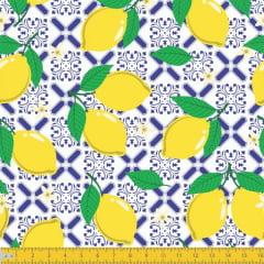 Tecido Tricoline Estampado Limões Siciliano Azulejo 6027v01