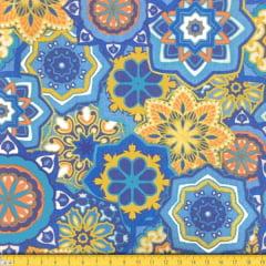 Tecido Tricoline Estampado Mandalas Geométrico Azul Laranja 6169v03