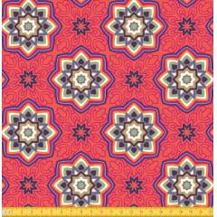 Tecido Tricoline Estampado Mandalas Estrelas Do Oriente Laranja 6174v02