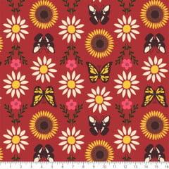 Tecido Tricoline Estampado Margarida Borboleta Girassol 7130v04