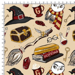 Tecido Tricoline Estampado Harry Potter Bege 6455v01