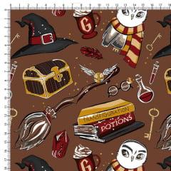 Tecido Tricoline Estampado Harry Potter Marrom 6455v02