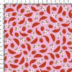 Tecido Tricoline Estampado Melancias e Morangos Fundo Rosa 3321v07