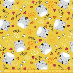Tecido Tricoline Estampado Gatos 6094v02