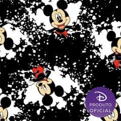Tecido Tricoline Estampado Mickey fundo Branco e Preto - Fernando Maluhy - MK020C01