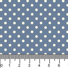 Tecido Tricoline Estampado Micro Bolinhas Bege Claro Fundo Azul 1001v131