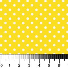 Tecido Tricoline Estampado Micro Bolinhas Brancas Fundo Amarelo 1001v134