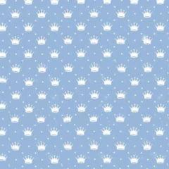 Tecido Tricoline Estampado Mini Coroa Fundo Azul Bebê 1143vr082